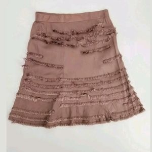 Anthropologie FEI 10 Pull On Skirt Silky Fringe